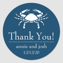 Crab Thank You Labels (Navy Blue)