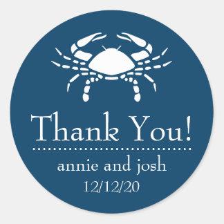 Crab Thank You Labels (Navy Blue) Round Sticker