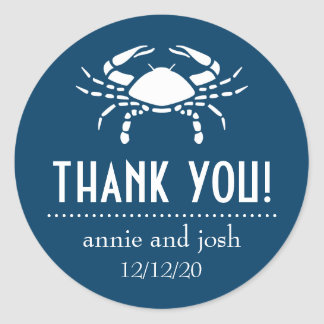 Crab Thank You Labels (Navy Blue) Classic Round Sticker