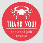Crab Thank You Labels (Red) Classic Round Sticker