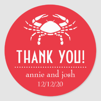 Crab Thank You Labels (Red) Round Stickers
