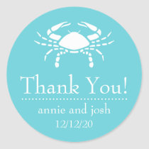 Crab Thank You Labels (Teal)
