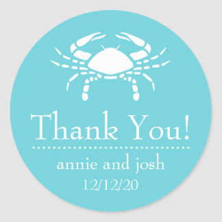 Crab Thank You Labels (Teal) Round Stickers