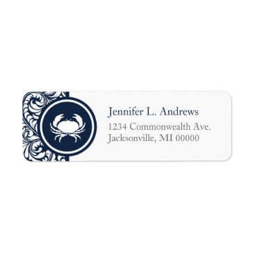 Crab Theme Navy Blue White Damask Beach Weddings Label