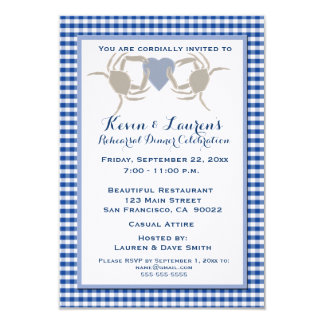Crab Theme with Blue Gingham Custom Announcement