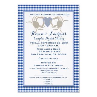 Crab Theme with Blue Gingham Custom Invites
