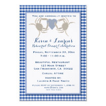 Crab Theme with Blue Gingham Invitation