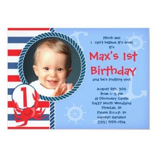 "Crab Themed Birthday Party Invitation 5"" X 7"" Invitation Card"