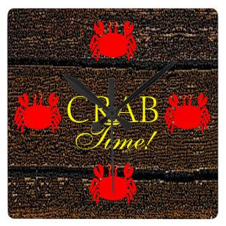Crab Time! Square Wallclocks