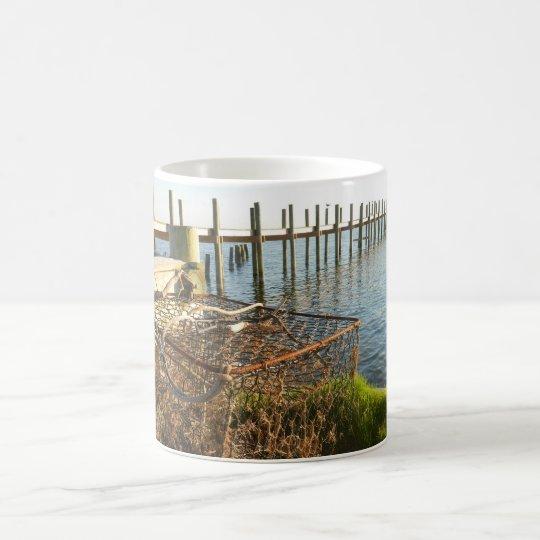 Crab Trap and Dock at Sunset Coffee Mug