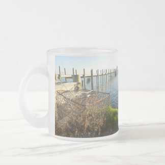 Crab Trap and Dock at Sunset Frosted Glass Coffee Mug