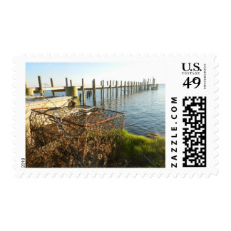 Crab Trap and Dock at Sunset Postage