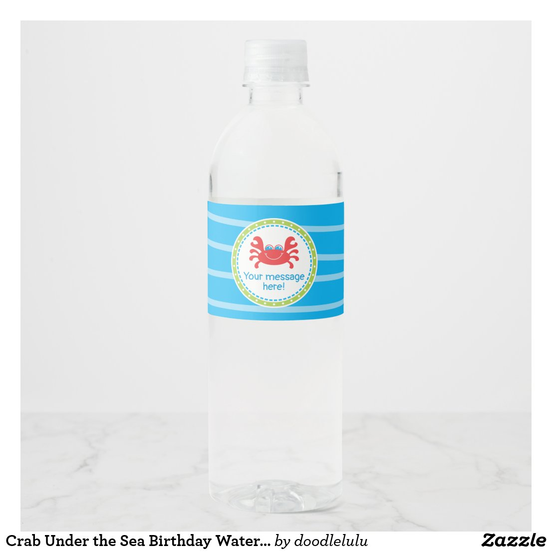 Crab Under the Sea Birthday Water Bottle Label