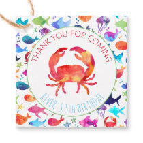 Crab Under The Sea Rainbow Fish Thank You Favor Tags