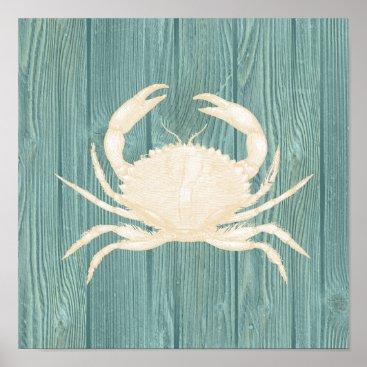 Beach Themed Crab Vintage Aqua Wood Beach Poster