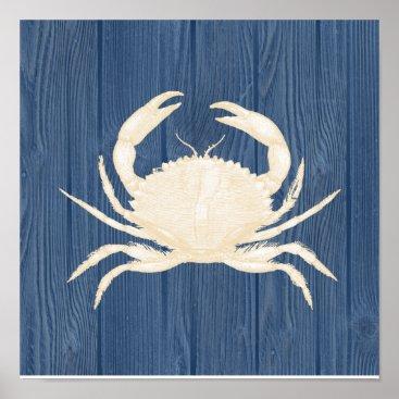 Beach Themed Crab Vintage Blue Wood Beach Poster