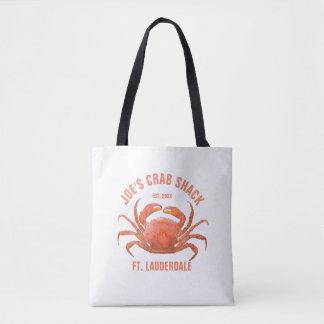 Crab Watercolors Illustration Custom Text Tote Bag