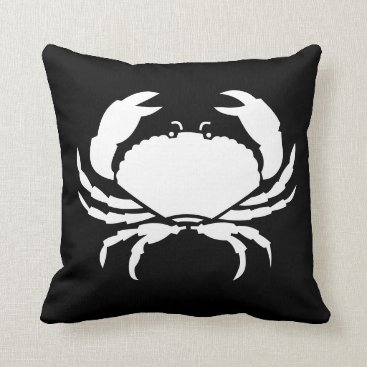Beach Themed CRAB WHITE on BLACK pillow