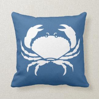 CRAB WHITE on  blue pillow
