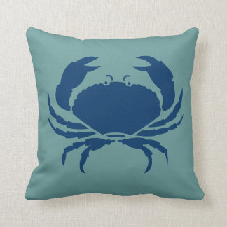 CRAB WHITE on dark teal blue pillow