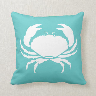 CRAB WHITE on teal blue pillow