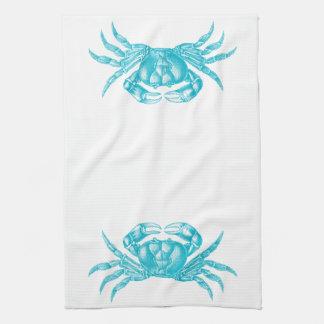Crab Woodblock Print Artisan Style Aqua Blue Hand Towel