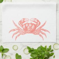 Crab Woodblock Print Artisan Style Coral Hand Towel