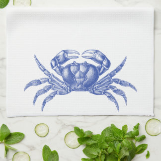 Crab Woodblock Print Artisan Style Nautical Blue Hand Towel