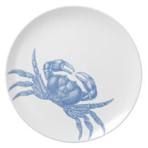Crab Woodblock Print Artisan Style Nautical Blue Melamine Plate