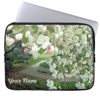 Crabapple Tree in Bloom Floral Girly Pattern Laptop Computer Sleeve