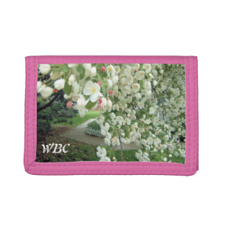 Crabapple Tree in Bloom Floral Girly Pattern Trifold Wallet