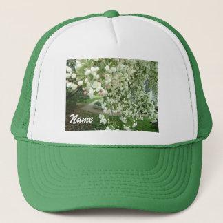 Crabapple Tree in Bloom Garden Scene w/Your Name Trucker Hat