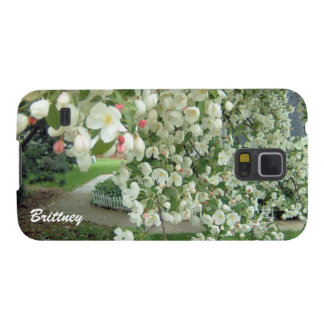 Crabapple Tree in Bloom White/Pink Floral Pattern Galaxy S5 Covers