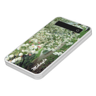 Crabapple Tree in Bloom White/Pink Floral Pattern Power Bank