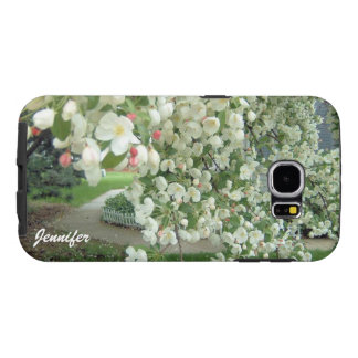 Crabapple Tree in Bloom White/Pink Floral Pattern Samsung Galaxy S6 Cases