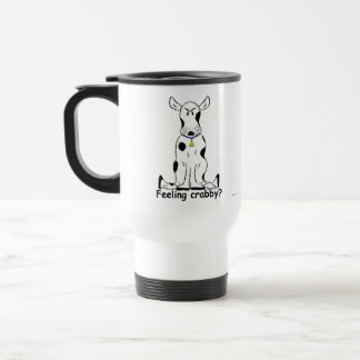 Crabby black and white cow travel mug! 15 oz stainless steel travel mug
