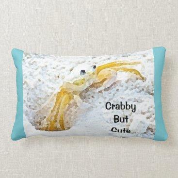 Beach Themed Crabby But Cute Beach Lumbar Pillow