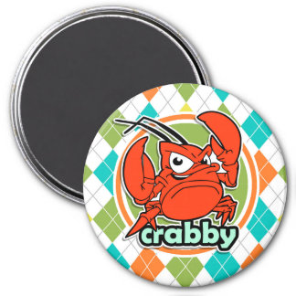 Crabby; Colorful Argyle Pattern 3 Inch Round Magnet