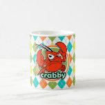 Crabby; Colorful Argyle Pattern Classic White Coffee Mug