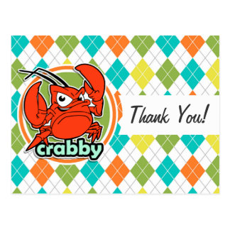 Crabby; Colorful Argyle Pattern Post Cards