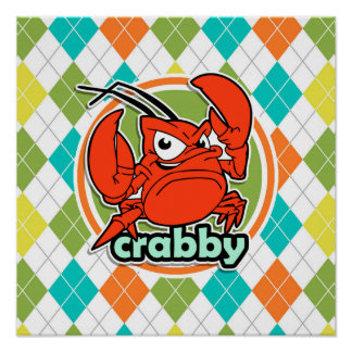 Crabby; Colorful Argyle Pattern Poster