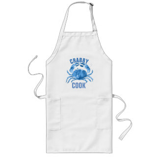 Crabby Cook Watercolors Blue Crab Illustration Long Apron