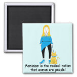 Crabby cranky blonde baby boomer and cat magnet! 2 inch square magnet