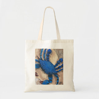 """""""Crabby Day"""" Blue Crab Budget Tote Bags"""