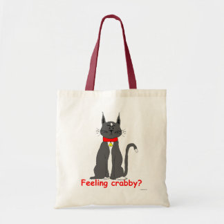 Crabby grouchy tuxedo cat on canvas tote! bags