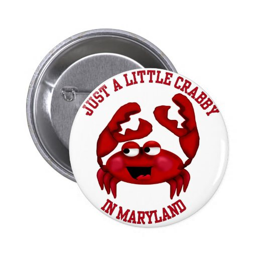 Crabby in Maryland Button
