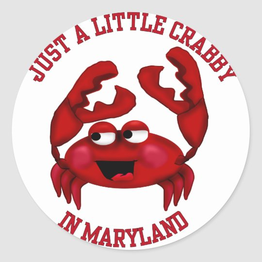 Crabby in Maryland Classic Round Sticker