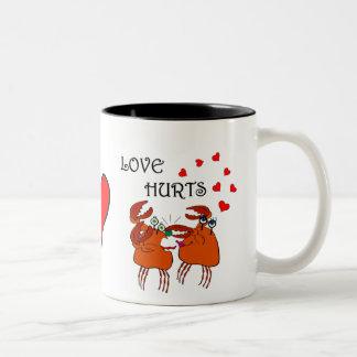 CRABBY LOVE HURTS! Two-Tone COFFEE MUG