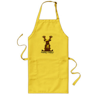 Crabby moose BBQ grilling cook's apron! Long Apron