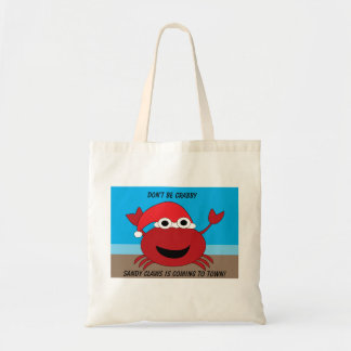 Crabby Sandy Claws Crab Funny Chrismtas Custom Tote Bag